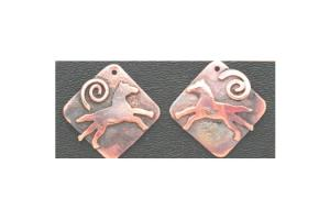 Ildanach Studio Recycled Copper Running Horse Earrings