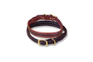Tory Leather Padded Overlay Dog Collar