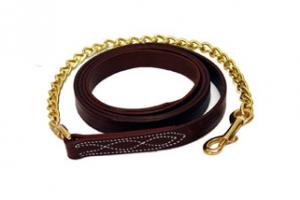 Walsh Fancy Stitched Leather Lead in Chestnut