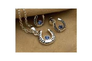 Horseshoe Necklace & Earring Set - Blue Rhinestones