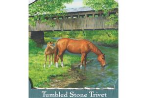 Mother and Foal Tumbled Stone Trivet