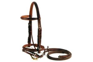 Vespucci Plain Raised Brown Jump Bridle with Flash