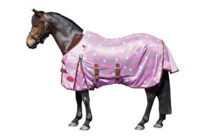 Weatherbeeta Pony Airflow Standard Neck Fly Sheet in Purple and Pink Spots